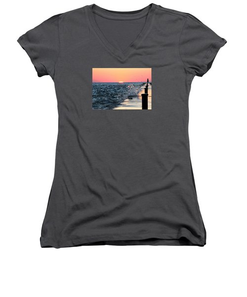 Michigan Summer Sunset Women's V-Neck T-Shirt (Junior Cut) by Bruce Patrick Smith