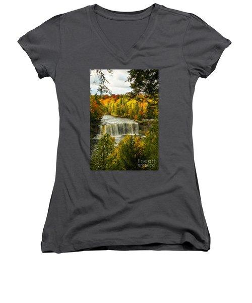 Michigan Waterfall Women's V-Neck T-Shirt (Junior Cut) by Marilyn Carlyle Greiner