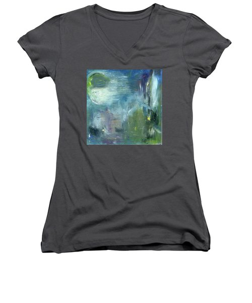 Mid-day Reflection Women's V-Neck T-Shirt (Junior Cut) by Michal Mitak Mahgerefteh