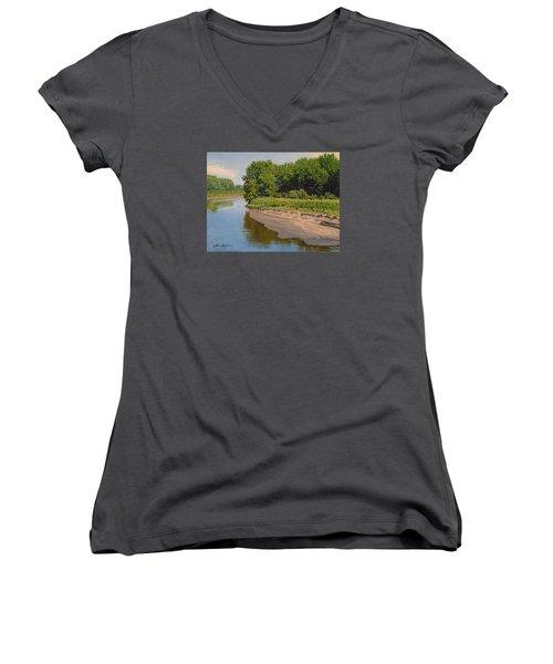 Mid Summer Prairie Stream Women's V-Neck T-Shirt (Junior Cut) by Bruce Morrison