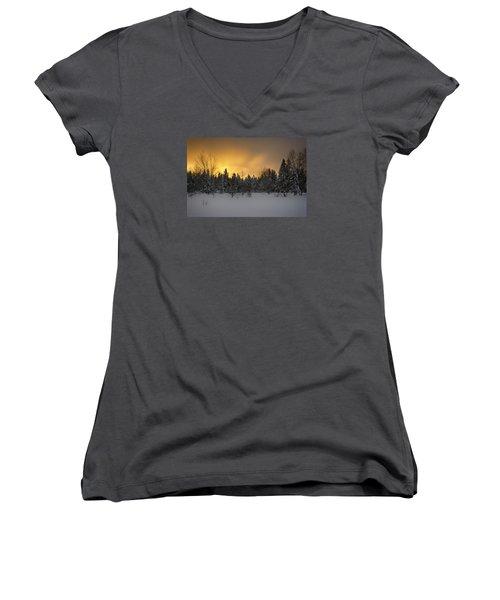 Mid-winter Glow Women's V-Neck T-Shirt (Junior Cut) by Dan Hefle