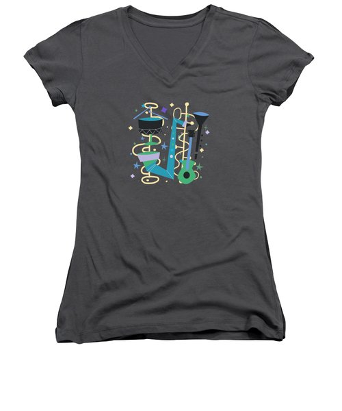 Midcentury Modern Fifties Jazz Composition Women's V-Neck (Athletic Fit)