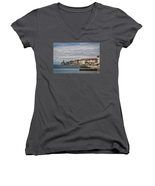 Women's V-Neck T-Shirt featuring the photograph Midday In Piran - Slovenia by Stuart Litoff