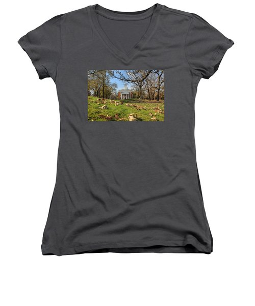 Middle College On An Autumn Day Women's V-Neck