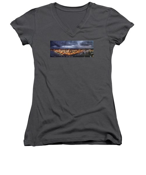 Women's V-Neck T-Shirt (Junior Cut) featuring the photograph Middletown Connecticut, Twilight Panorama by Petr Hejl