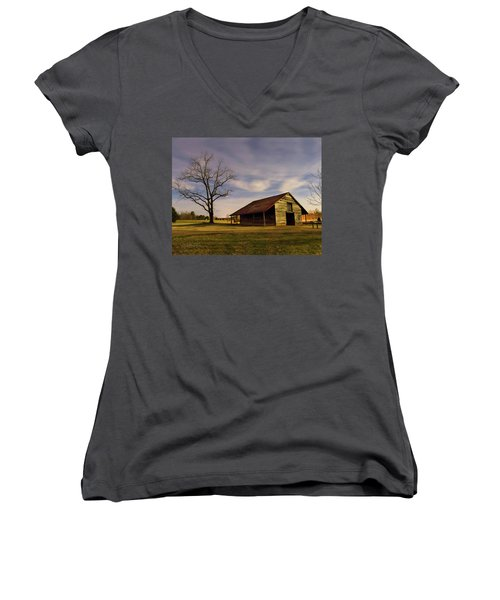 Midnight At The Mule Barn Women's V-Neck T-Shirt (Junior Cut) by George Randy Bass