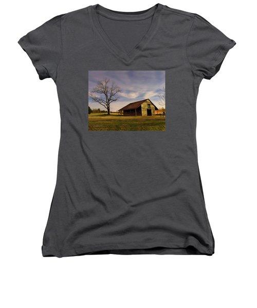 Midnight At The Mule Barn Women's V-Neck T-Shirt
