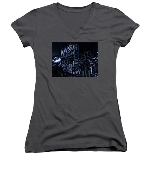 Midnight At The Tower Of Terror Mp Women's V-Neck T-Shirt (Junior Cut) by Thomas Woolworth