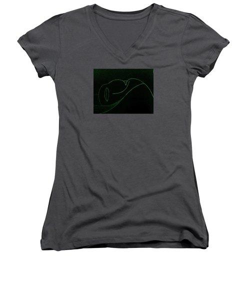 Midnight Women's V-Neck T-Shirt (Junior Cut) by Bill OConnor