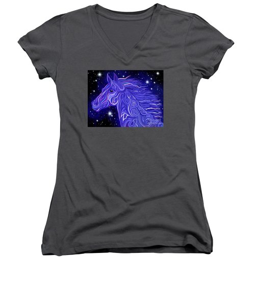 Women's V-Neck T-Shirt (Junior Cut) featuring the drawing Midnight Blue Mustang by Nick Gustafson