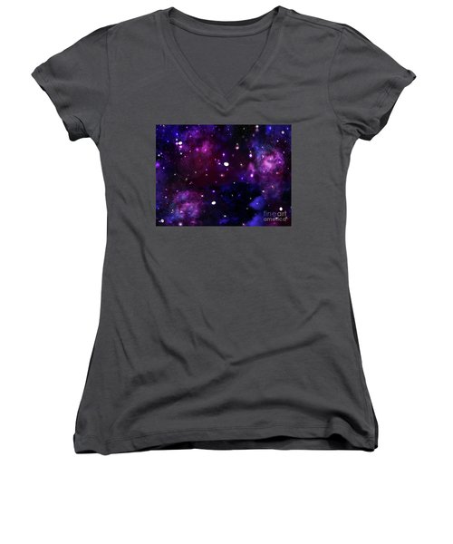 Midnight Blue Purple Galaxy Women's V-Neck