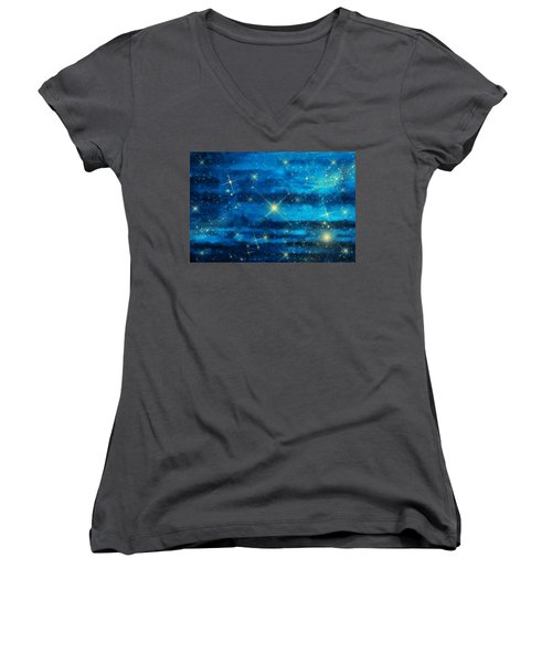 Midnight Blue Sky With Stars Women's V-Neck (Athletic Fit)