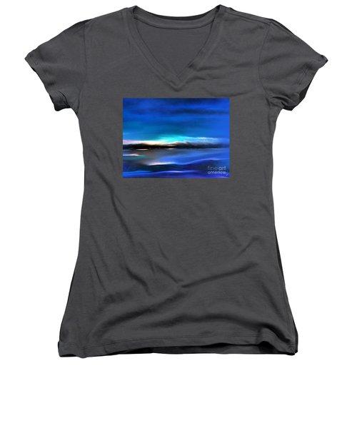 Midnight Blue Women's V-Neck T-Shirt (Junior Cut) by Yul Olaivar