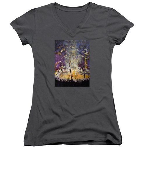 Women's V-Neck T-Shirt (Junior Cut) featuring the painting Midnight Campsite by Dan Whittemore
