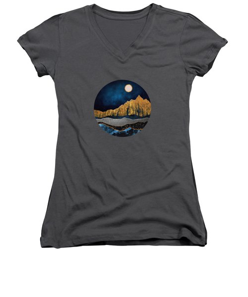 Midnight Desert Moon Women's V-Neck (Athletic Fit)