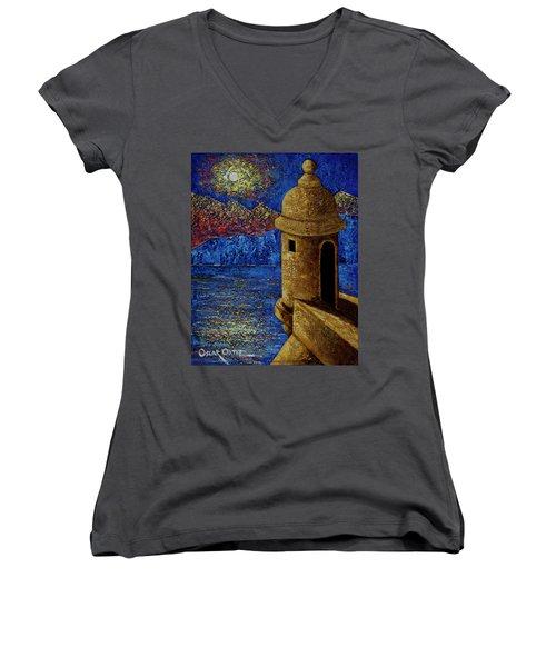 Midnight Mirage In San Juan Women's V-Neck T-Shirt (Junior Cut)