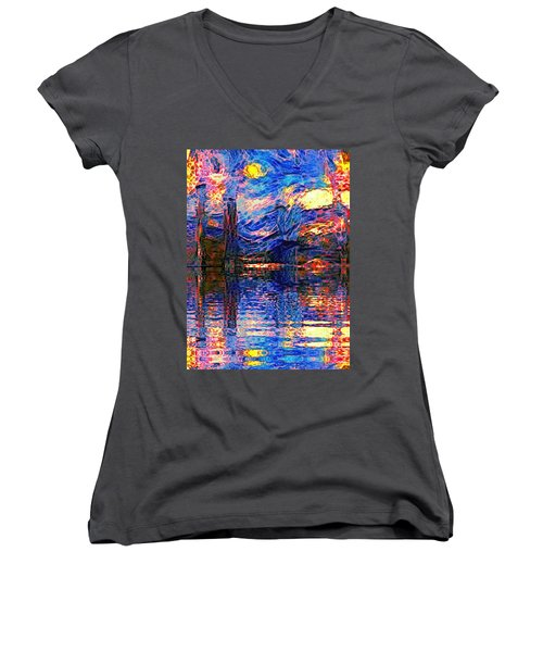 Midnight Oasis Women's V-Neck T-Shirt (Junior Cut) by Holly Martinson