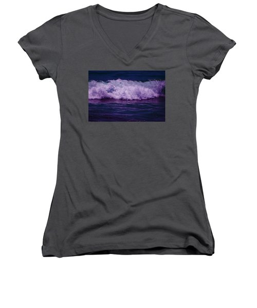 Midnight Ocean Wave In Ultra Violet Women's V-Neck (Athletic Fit)