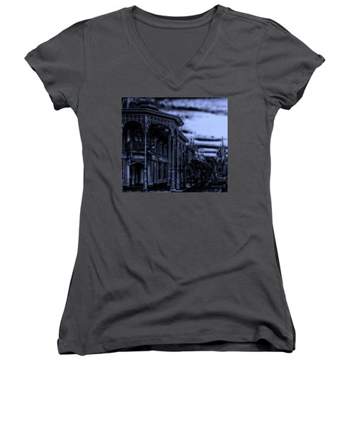Midnight On Main Street Disney World Mp Women's V-Neck T-Shirt (Junior Cut) by Thomas Woolworth