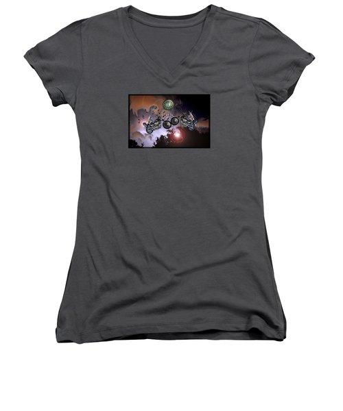 Midnight Rider Women's V-Neck T-Shirt