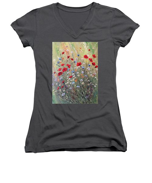 Midsummer Poppies Women's V-Neck T-Shirt (Junior Cut) by Dorothy Maier