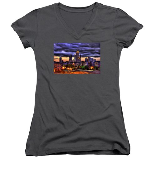 Midtown Atlanta Towers Over Atlantic Commons Art Women's V-Neck