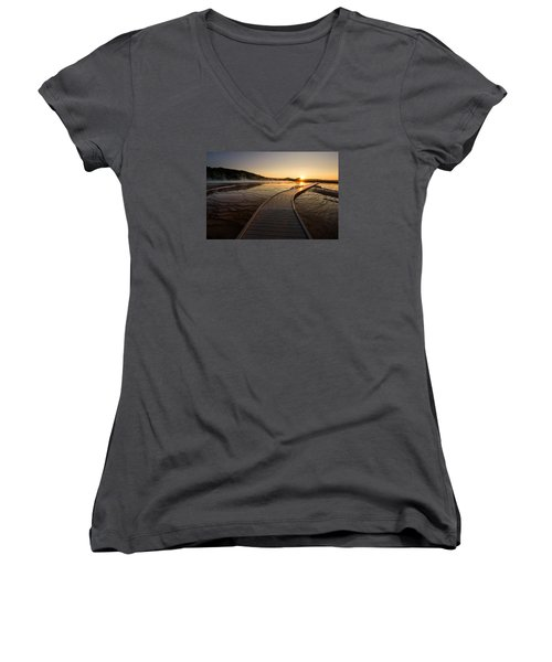 Women's V-Neck T-Shirt (Junior Cut) featuring the photograph Midway Basin Sunset by Dan Mihai
