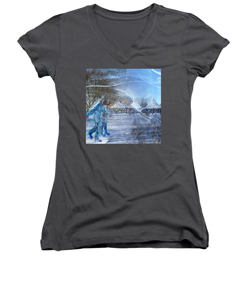 Midwinter Blues Women's V-Neck (Athletic Fit)
