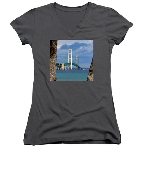 Mighty Mac Framed By Trees Women's V-Neck T-Shirt (Junior Cut) by Keith Stokes