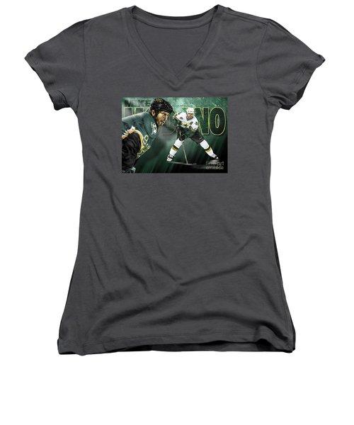 Women's V-Neck T-Shirt (Junior Cut) featuring the digital art Mike Modano by Don Olea