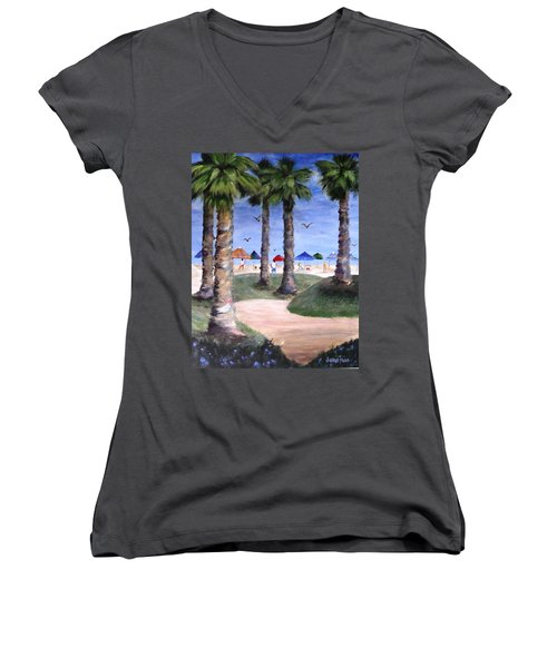 Mike's Hermosa Beach Women's V-Neck T-Shirt (Junior Cut) by Jamie Frier
