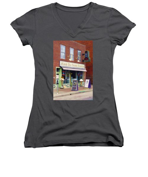 Women's V-Neck T-Shirt (Junior Cut) featuring the painting Mike's Ice Cream Fountain by Sandy MacGowan