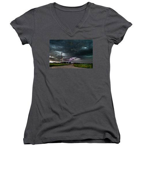 Mikey's Lightning  Women's V-Neck T-Shirt
