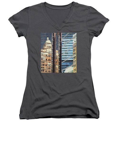 Women's V-Neck T-Shirt (Junior Cut) featuring the photograph Miksang 10 Reflect by Theresa Tahara