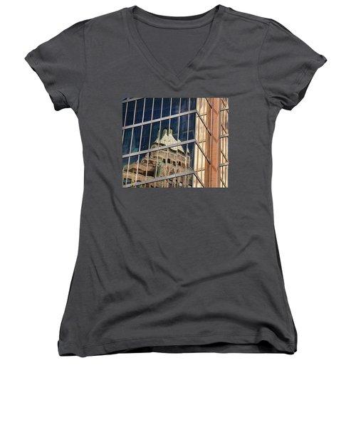 Women's V-Neck T-Shirt (Junior Cut) featuring the photograph Miksang 9 City by Theresa Tahara