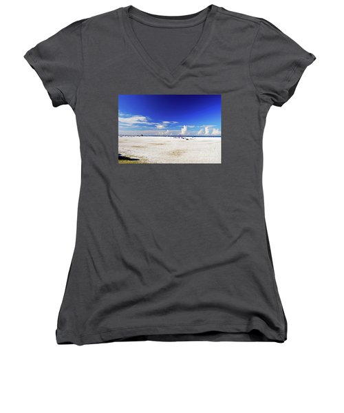 Women's V-Neck T-Shirt featuring the photograph Miles And Miles Of White Sand by Gary Wonning