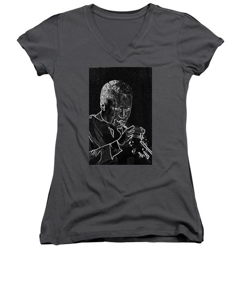 Miles Davis Women's V-Neck T-Shirt (Junior Cut) by Charles Shoup