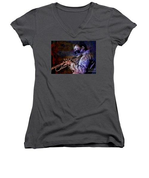 Miles Davis Jazz Legend 1969 Women's V-Neck T-Shirt (Junior Cut) by Ian Gledhill