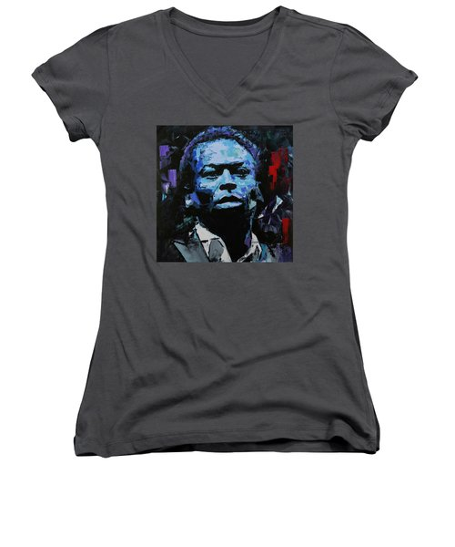 Women's V-Neck T-Shirt (Junior Cut) featuring the painting Miles Davis by Richard Day