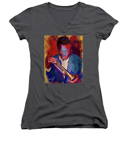 Miles Davis Women's V-Neck (Athletic Fit)