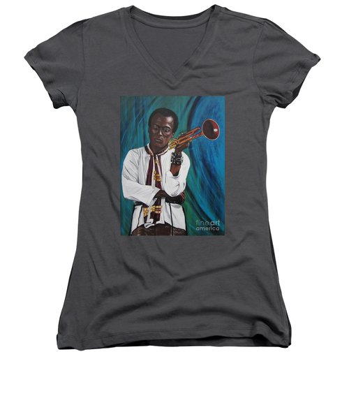 Miles-in A Really Cool White Shirt Women's V-Neck T-Shirt (Junior Cut) by Sigrid Tune