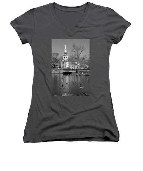 Milford Congregational Church Bw Women's V-Neck (Athletic Fit)