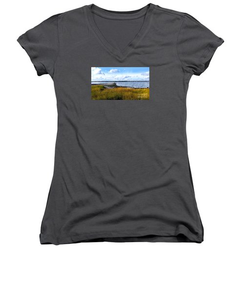 Women's V-Neck T-Shirt (Junior Cut) featuring the photograph Milford Island by Raymond Earley