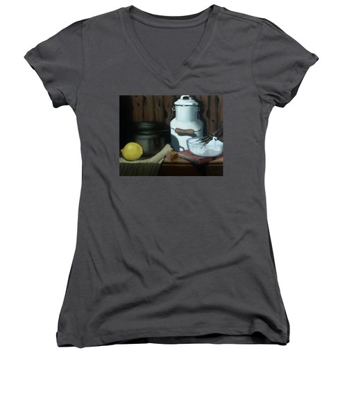 Women's V-Neck T-Shirt (Junior Cut) featuring the painting Milk Jug Meringue by Susan Roberts
