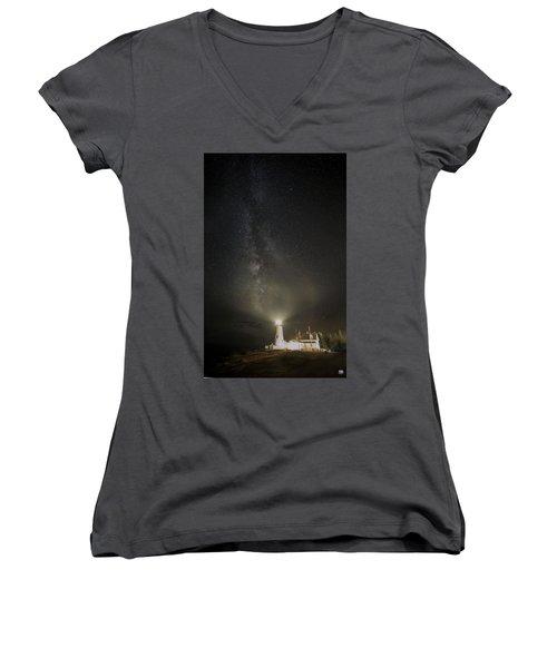 Milky Way At Pemaquid Light Women's V-Neck