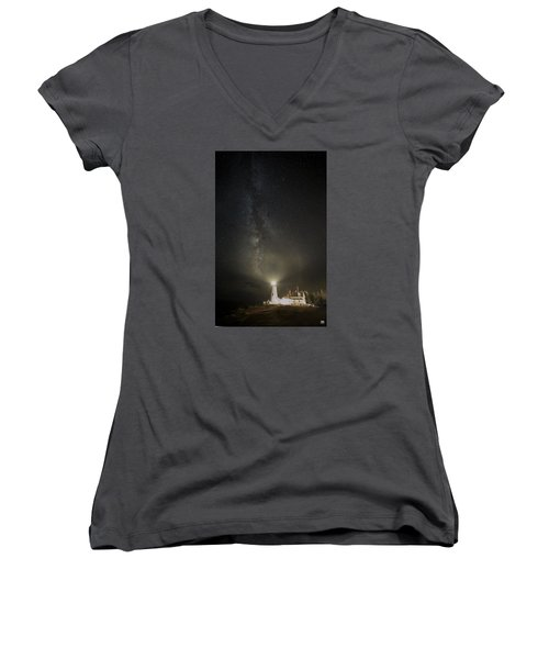 Milky Way At Pemaquid Light Women's V-Neck (Athletic Fit)