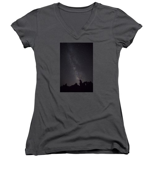 Milky Way Galaxy At Arches National Park Women's V-Neck
