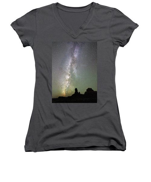 Milky Way Over Arches Np Four Women's V-Neck