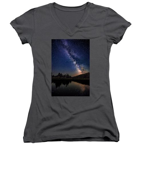 Milky Way Over The Deschutes River Women's V-Neck