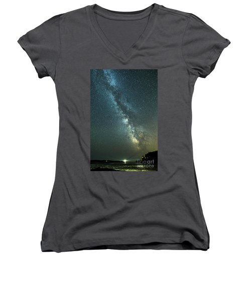 Milky Way Over Clams Flats Women's V-Neck T-Shirt